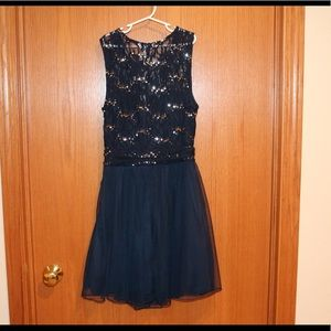 Like New Speechless Blue with Silver Sequin Dress
